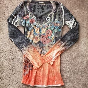 Color In Motion Sequined Butterfly Tie Dye Shirt M